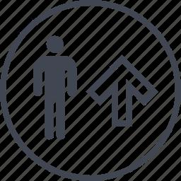 arrow, man, men, person, up icon