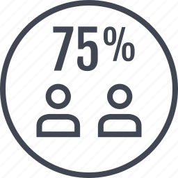 five, percent, rate, seventy, two, users icon
