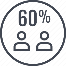 percent, sixty, two, users icon