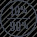 ninety, percent, rate, ten icon