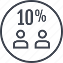 percent, ten, two, users icon