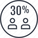 percent, thirty, two, users icon