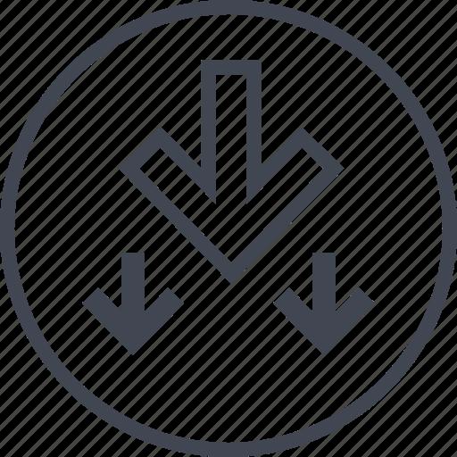 arrows, down, point, three icon