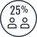 five, percent, twenty, two, users icon