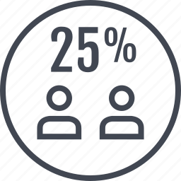 five, percent, twenty, two, users icon