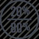 eighty, percent, twenty icon