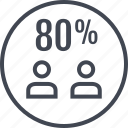 eighty, percent, two, users icon