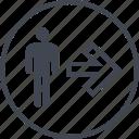 arrow, go, next, point, user icon