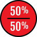 data, fifty, half, infographic, information, off, seo icon