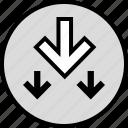 arrows, data, down, infographic, information, seo, three icon