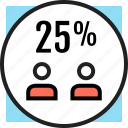 interest, investment, partners, percent, revenue icon