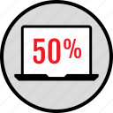 data, fifty, infographic, laptop, percent, seo, web icon