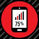 bars, data, infographic, percent, seo, seventyfive, web icon