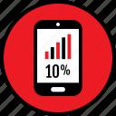 data, infographic, percent, phone, seo, ten, web icon