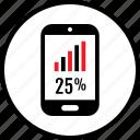data, infographic, percent, phone, seo, twentyfive, web icon