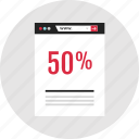 data, fifty percent, infographic, percent icon