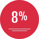 data, eight percent, infographic, percent icon
