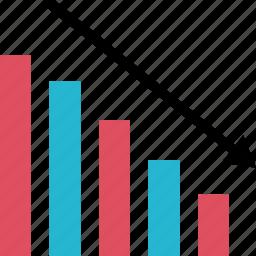 bars, dwon, graph, graphic, info icon