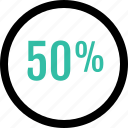 fifty, graphic, half, info, percent icon