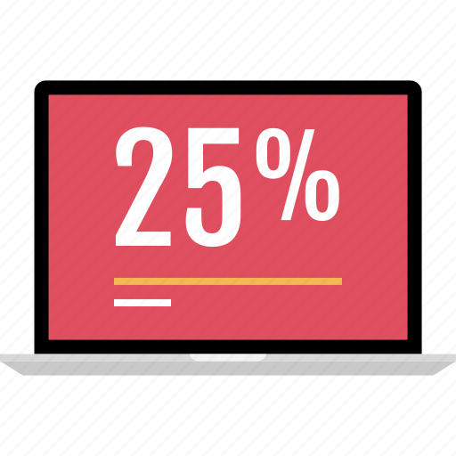 five, graphic, info, laptop, percent, twenty icon