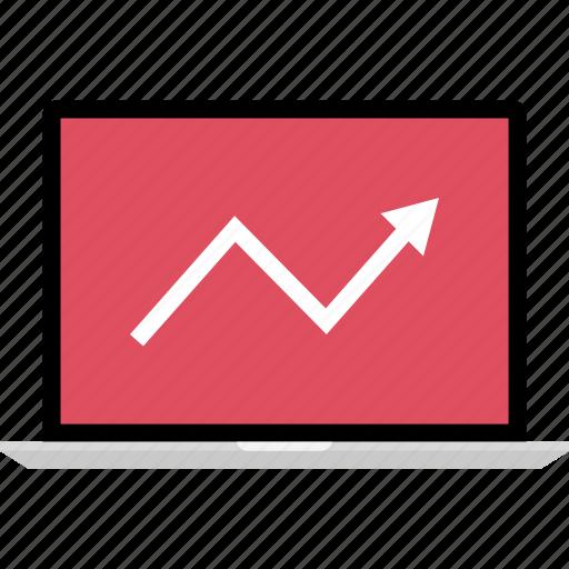 arrow, graphic, info, laptop icon