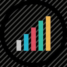 bars, data, graphic, info, up icon