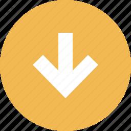arrow, down, graphic, info icon