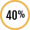 fourty, graphic, info, percent icon
