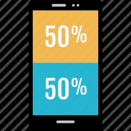 fifty, graphic, half, info, percent icon