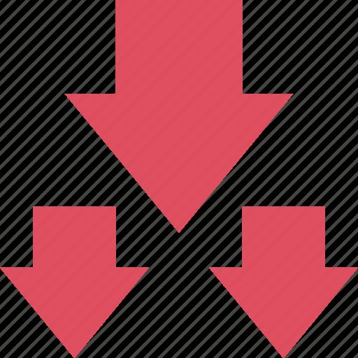 arrows, down, graphic, info, three icon