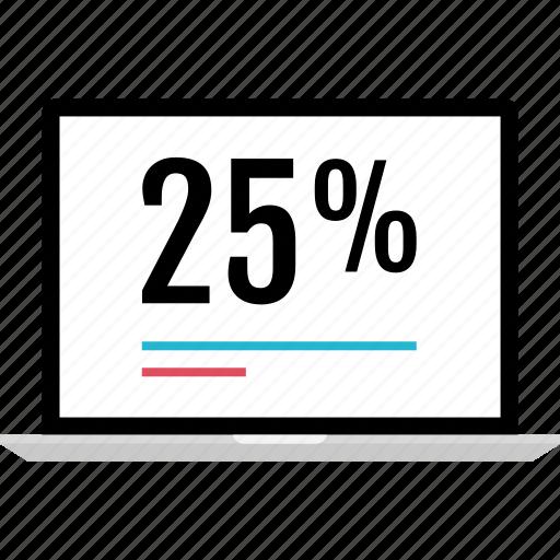 graphic, info, laptop, percent, twenty icon