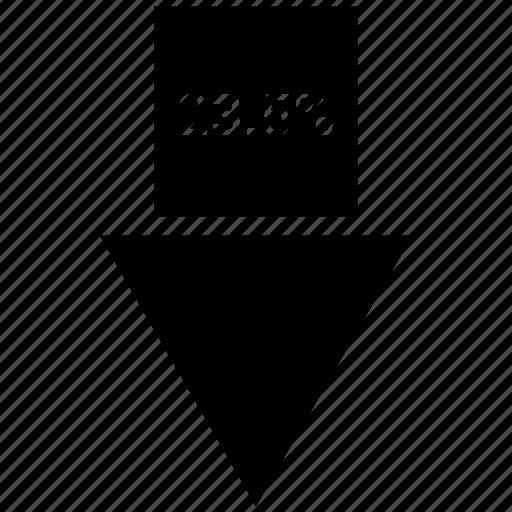 arrow, percent, percentage, three, twenty three icon