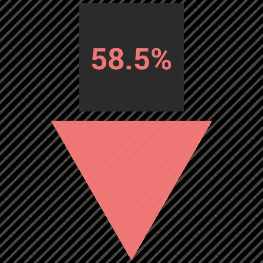 arrow, eight, fifty, percent, percentage icon