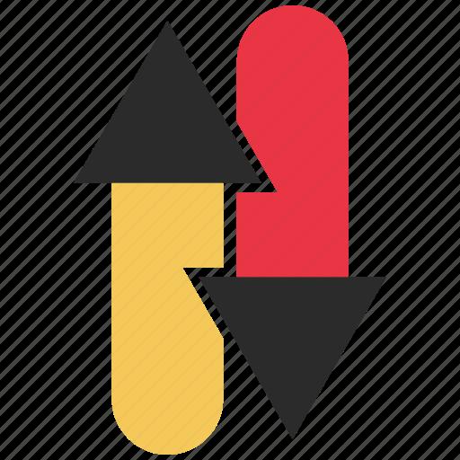 arrow, bar, bar chart, business, chart, graph icon