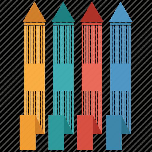 analytics, arrow, bar, business, chart, infographic icon