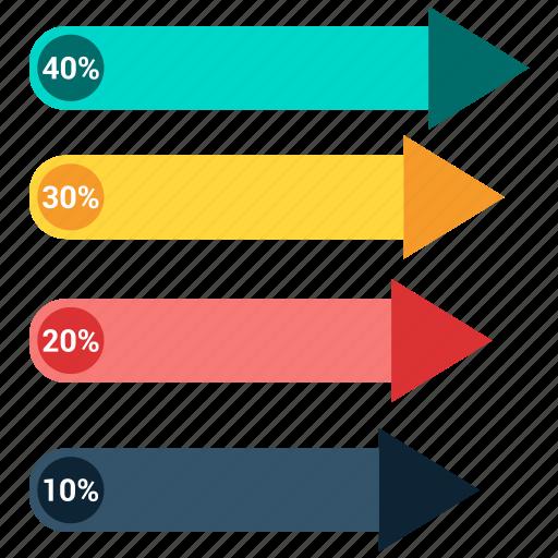 arrow, bar, growth chart, infographic icon
