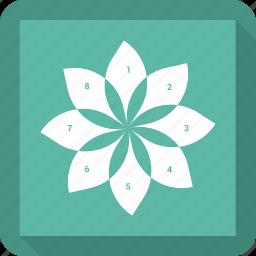 chart, diagram, flower, graph, infographic, pie chart, pie graph icon