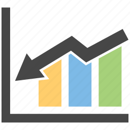 analytics, chart, down, growth, increase icon