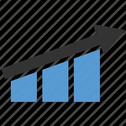 arrows, increasing, profit, up icon