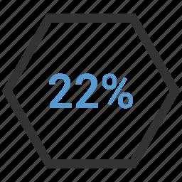 percent, twenty, two, users icon