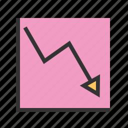 arrow, business, chart, decline, down, graph, line icon