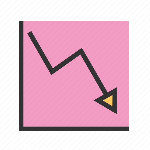 arrow, business, chart, decline, down, graph, line icon