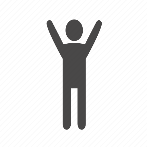 exercise, gymnastics, hands up, morning exercise, motion, winner icon