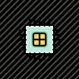 board, circuit, computer chip, hardware, microchip, processor, technology icon