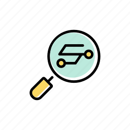 analyzing, data, digital, information, loupe, searching icon
