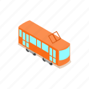 city, isometric, train, tram, transport, travel, vehicle icon