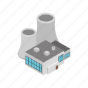 building, factory, industrial, industry, isometric, plant, power icon