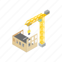 architecture, build, construction, crane, development, isometric, site