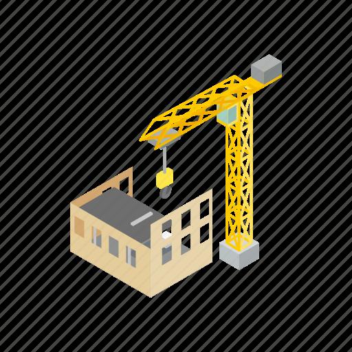 architecture, build, construction, crane, development, isometric, site icon