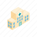 building, healthcare, hospital, isometric, medical, medicine, service icon